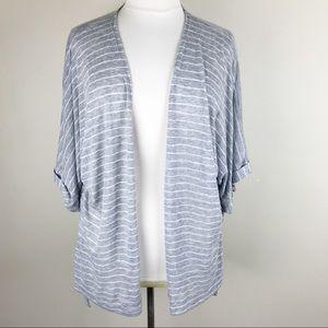 Soft Surroundings Grey Striped Cardigan Oversized